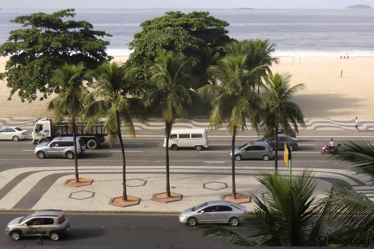 VW Bay Window Bus on Rio de Janeiro Streets, Copacabana, Brazil, May 22, 2013