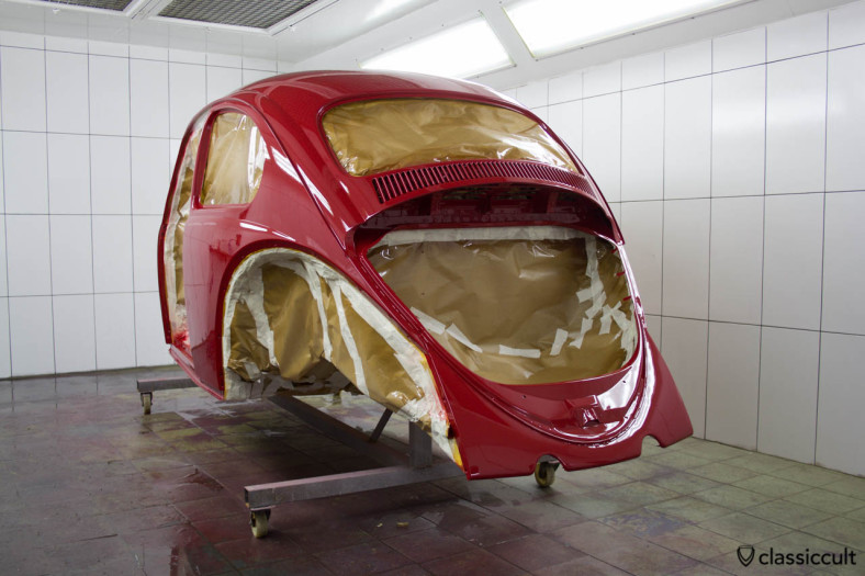 VW Beetle restoration body painted in ruby L456.