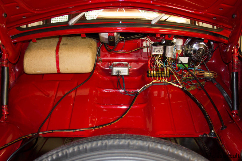 VW Beetle 1200 A fuse box and wiring.