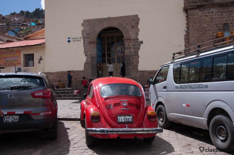VW Beetle 1300 L before Iglesia de San Blas, Cusco, Peru, May 11, 2013