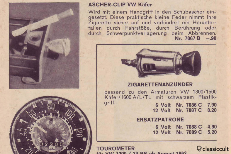 VW Beetle ashtray Clip Accessory, scanned from Auto Ausstattung Parts Catalog 1967