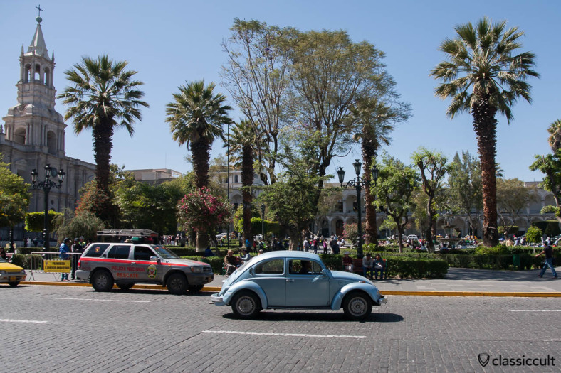 VW Beetle and the Basilica Cathedral of Arequipa, Peru, May 8, 2013
