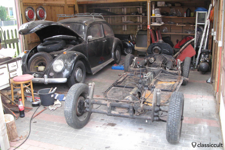 VW Beetle body removed from chassis