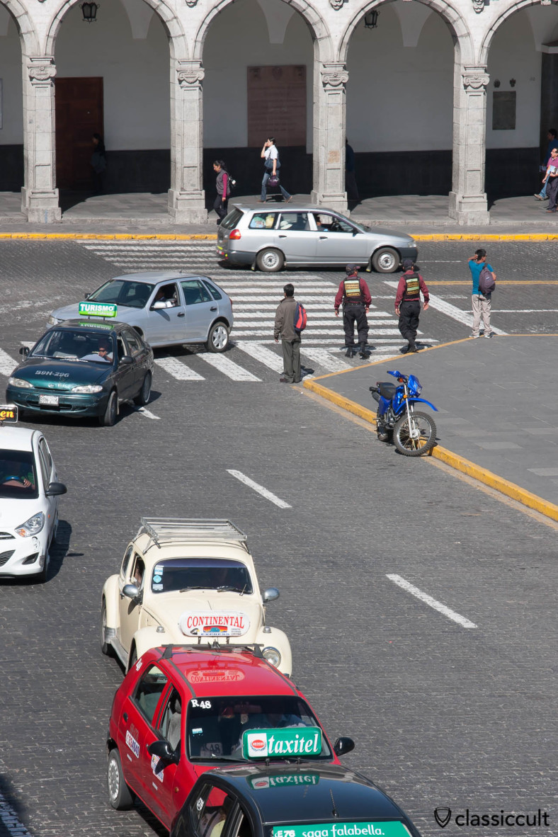 The VW Beetle picture was taken from a Cafe on Plaza de Armas Arequipa, Peru, May 8, 2013
