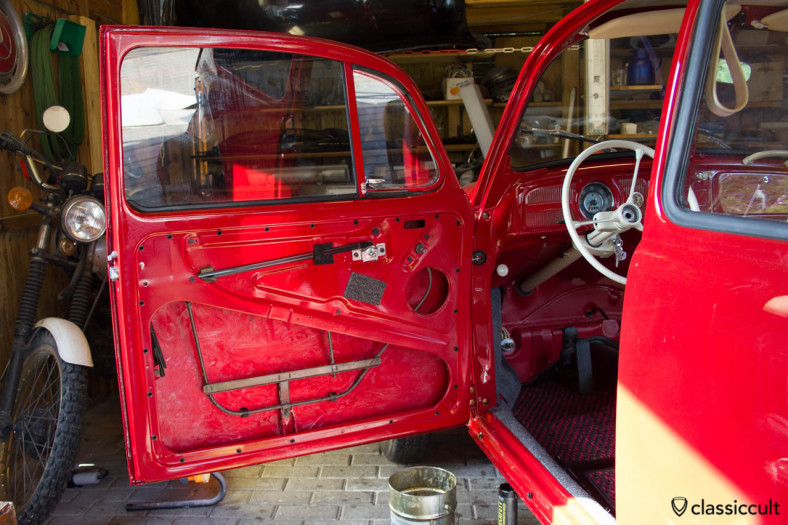 VW Beetle door after a full restoration. I put Mike Sanders rust prevention grease at the inside of the door.