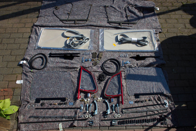 VW Beetle door parts. There are lots of parts in the Beetle doors. I have already disassembled the doors a few times and it is always a big adventure to put the door together.