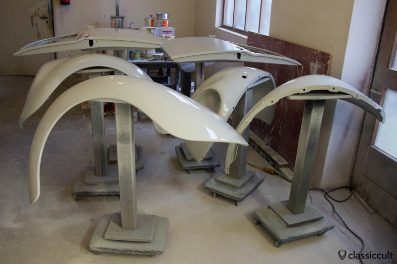 VW Beetle fenders and doors painted with filler. Ready for wet sanding.