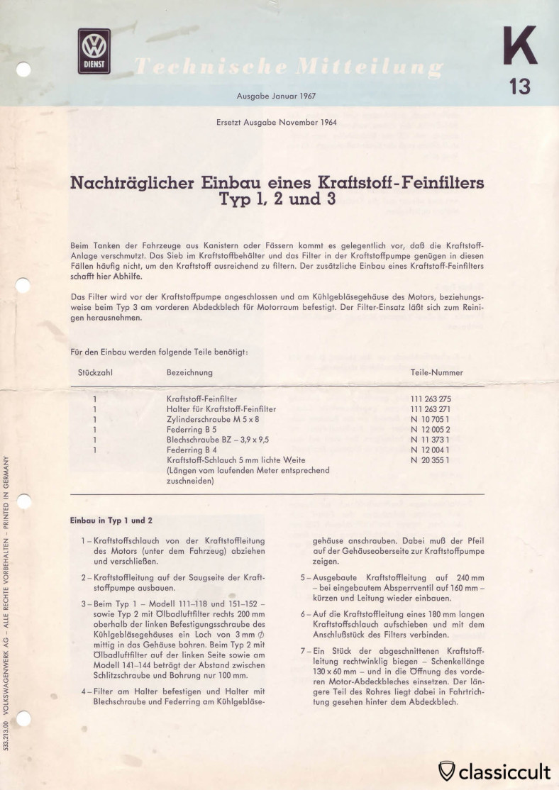 VW Beetle fuel filter installation mounting instructions 1967.