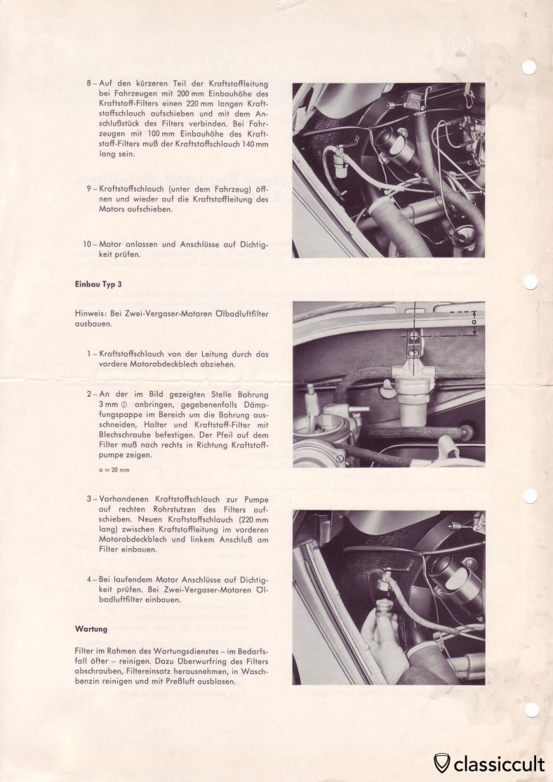 VW Beetle fuel filter installation.