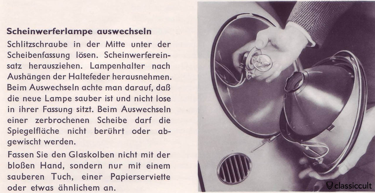 VW Beetle Headlight Bulb Replacement with 6V 35/35W Osram 7324 or Philips 6728, VW owners manual 1959