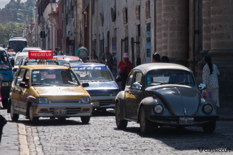 VW Beetle in the historic center of Arequipa, Peru, May 8, 2013