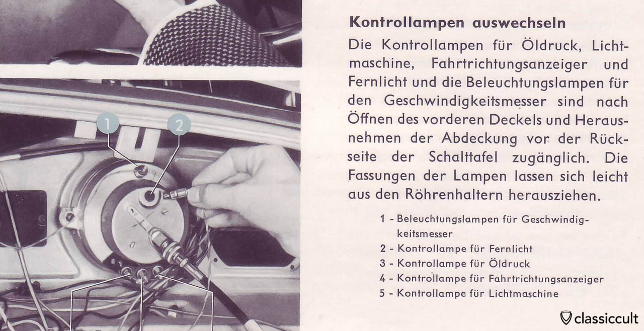VW Bug Warning and Instrument Light Bulb Replacement with 6V 1,2W Osram 3799 or Philips 6829, VW owners manual 1959