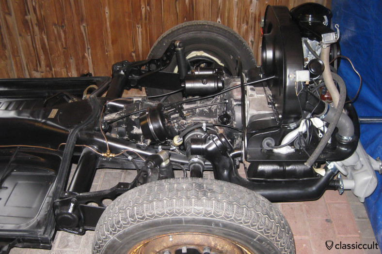 VW Beetle motor and gear box mounted at the chassis.