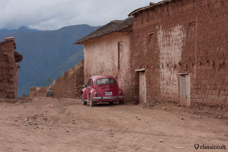 VW Beetle near Moray Incan ruins, Peru, May 12, 2013