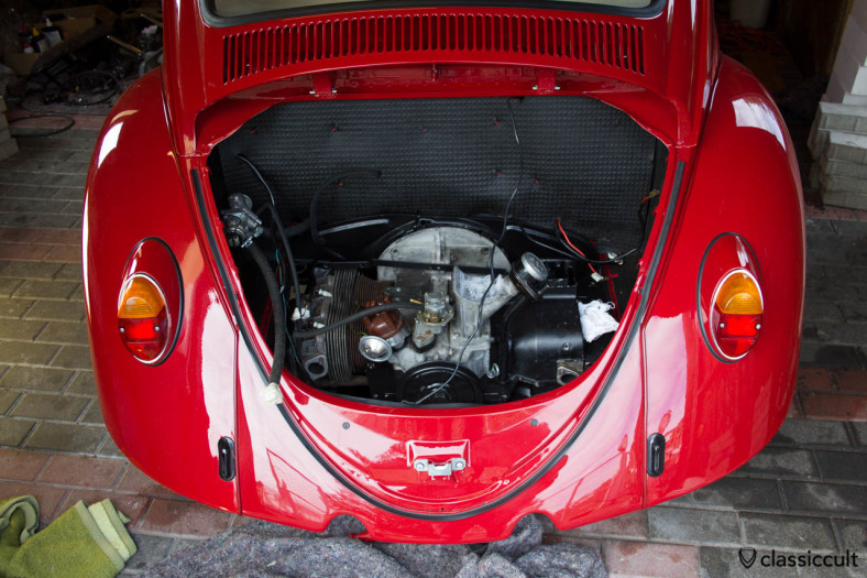 VW Beetle oil cooler leak. After the first start of the motor, the oil cooler was leaking. I changed the two oil cooler seals without removing the motor. I removed the bumper and the hood so that I can work better. That was not so pleasant, but I was successful and happy that I did it by myself.
