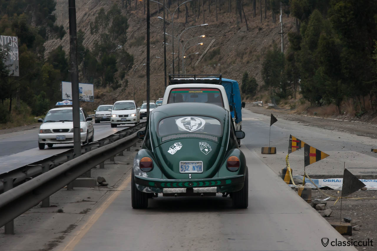 VW Beetle on the road to Tiahuanaco, Bolivia, May 18, 2013