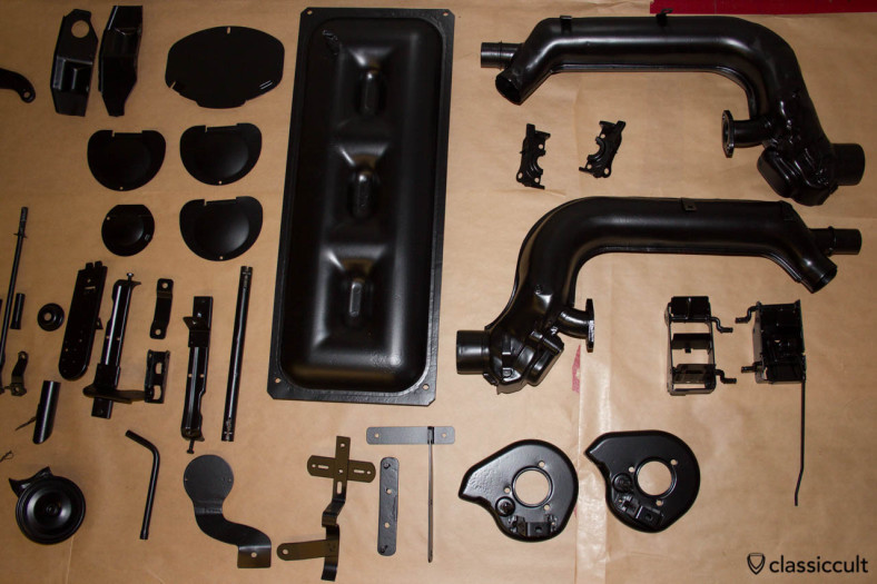 VW Beetle parts after resto. The big part is a Saxomat vacuum tank.