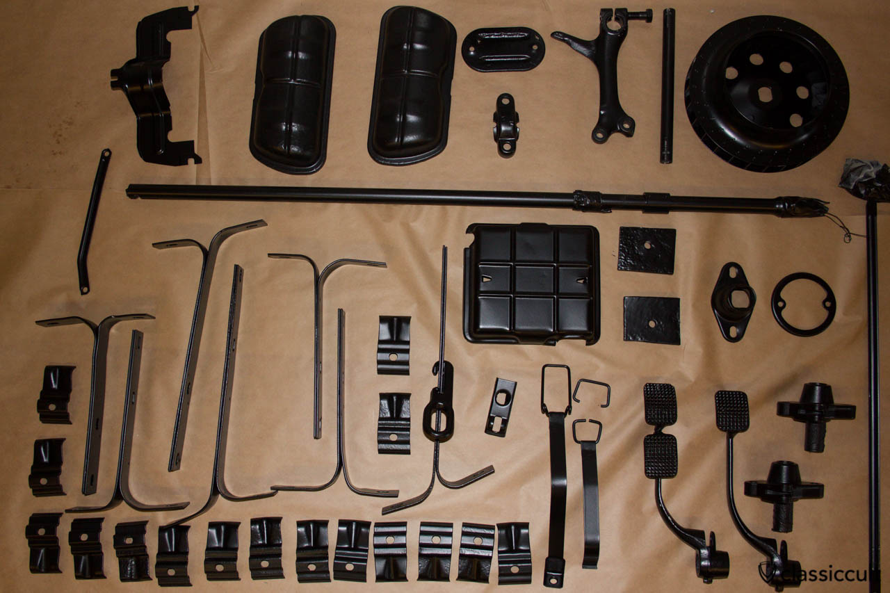 VW Beetle parts restored and black painted. Some parts are duplicated, because I disassembly two VW 1200A Beetles.
