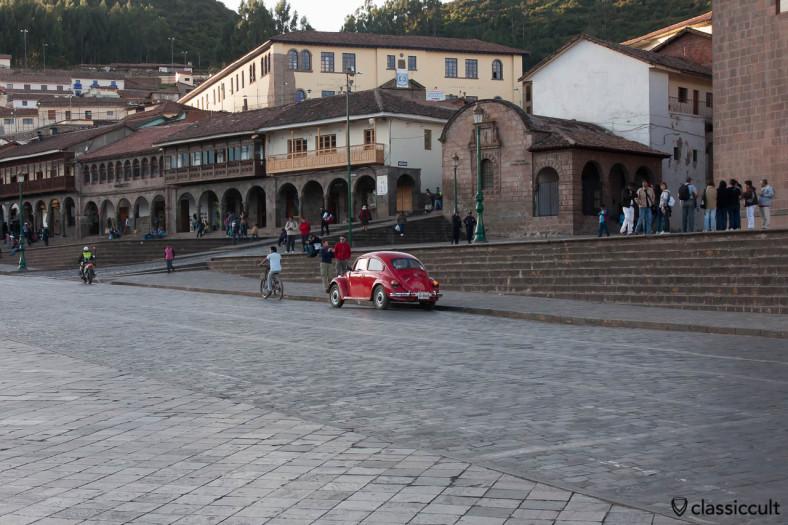 VW Beetle parking on Plaza de Armas Cusco, Peru, May 11, 2013