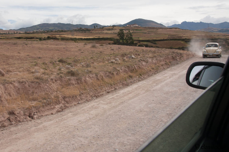 VW Beetle on the road to Salinas de Mara, Sacred Valley, Peru, May 12, 2013