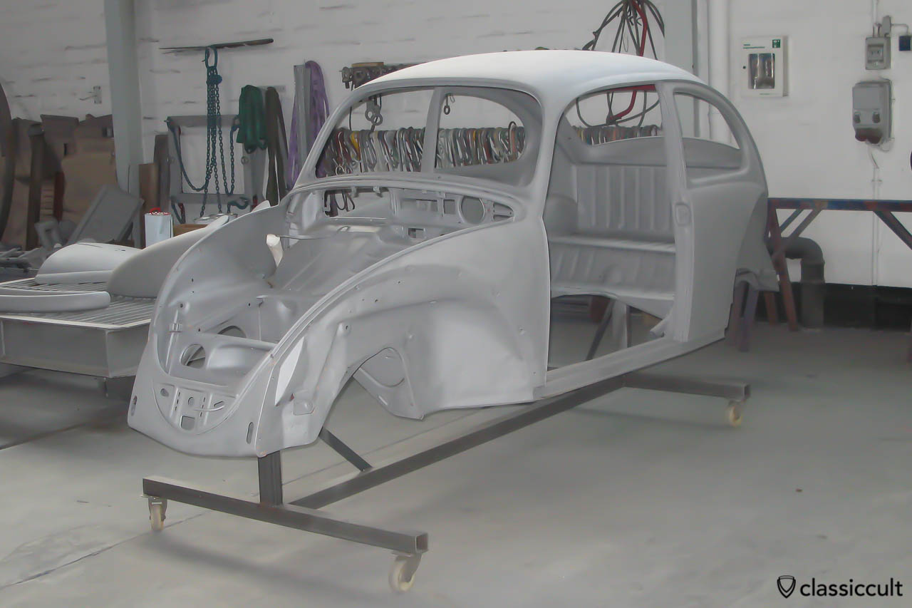 VW Beetle restoration sandblasting. After the welding was finished, the next step was sandblasting. The VW Beetle body, the floor pan and all other parts were sandblasted and received a 2K epoxy primer.