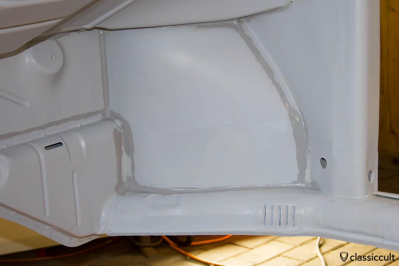 VW Beetle seam sealer sikaflex 221 sealant.