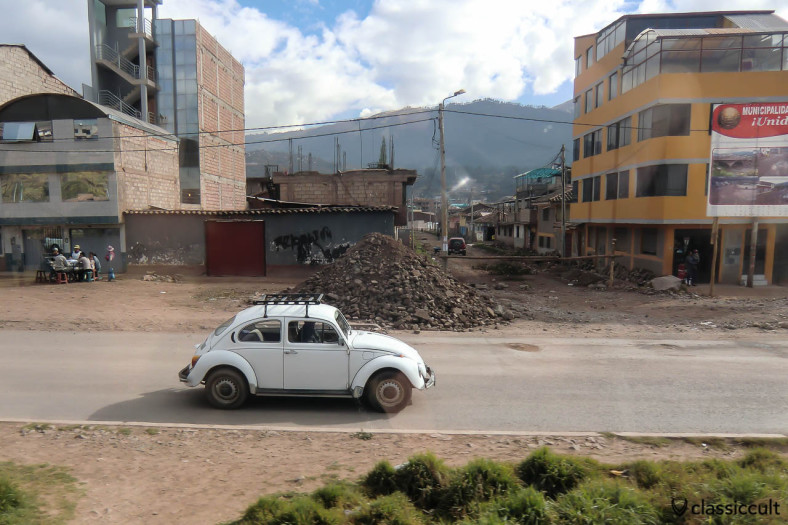 VW Beetle seen from Andean Explorer train, Peru, May 15, 2013