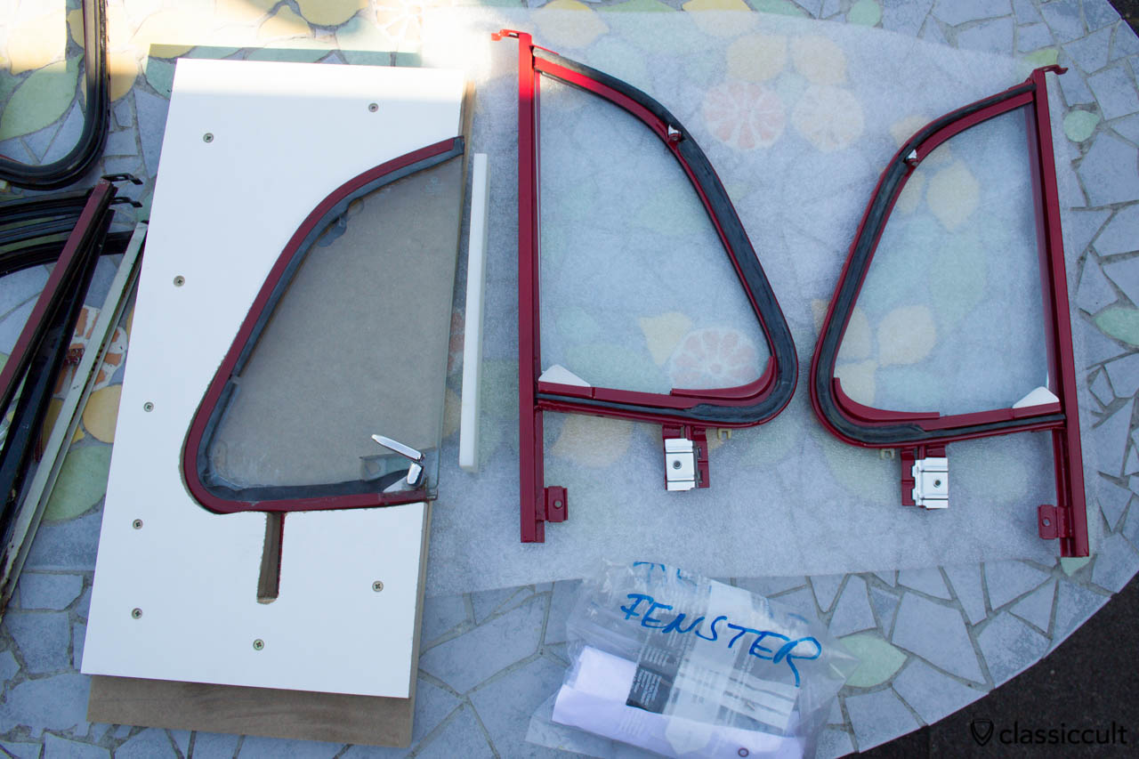 VW Beetle vent window restoration press device. I build a VW Beetle vent window press device to get the window with sealing back in the frame. Because the VW 1200A has the vent windows painted in body color you have to be very carefully. I tested the press function with used parts. After the window is back in the frame, the sealing needs to be cut off. BTW, the restoration of chrome vent windows is easier.