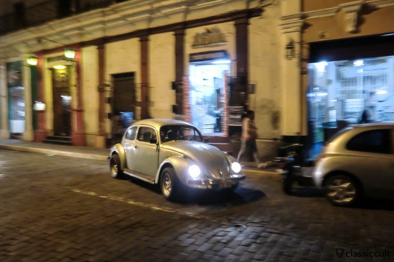 VW Bug at night in the historic center of Arequipa, Peru, May 10, 2013
