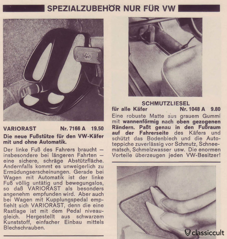 VW automatic Bug driver side comfort footrest accessory, scanned from Auto Accessories catalog 1968, Page 156