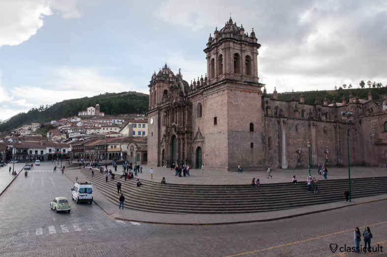 VW Bug and the Cathedral of Santo Domingo, Cusco, Peru, May 11, 2013