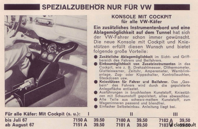 VW bug center console with an additional instrument board