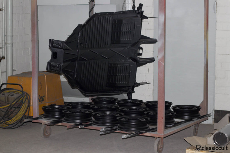 VW Beetle restoration chassis painted black.