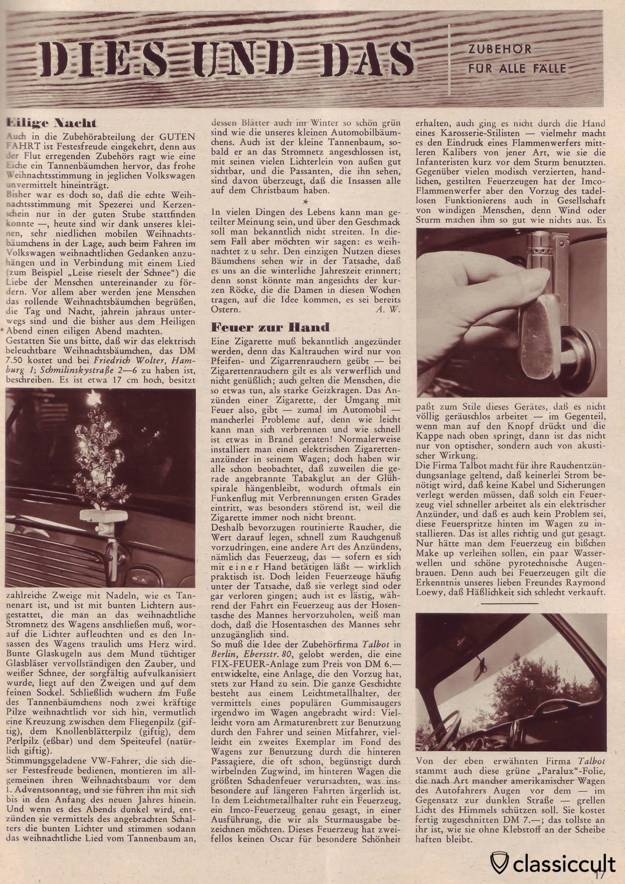 VW oval bug christmas tree, Gute Fahrt Magazine 12/1958