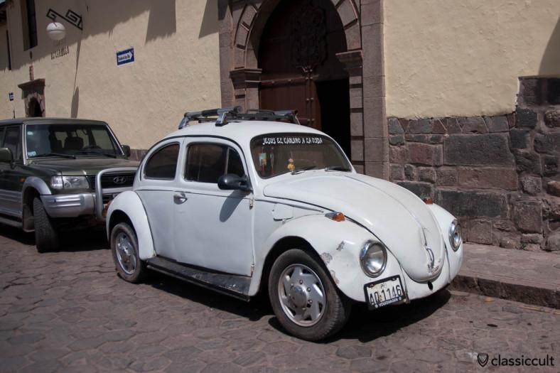 The VW Bug is parking before Colegio el carmelo Cuzco, Peru, May 11, 2013.