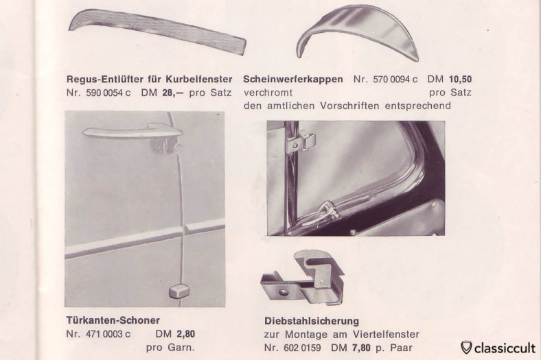 VW Bug GHE Vent Window Anti Theft System, GHE Happich VW Bug Accessories Catalog 1964, Page 33