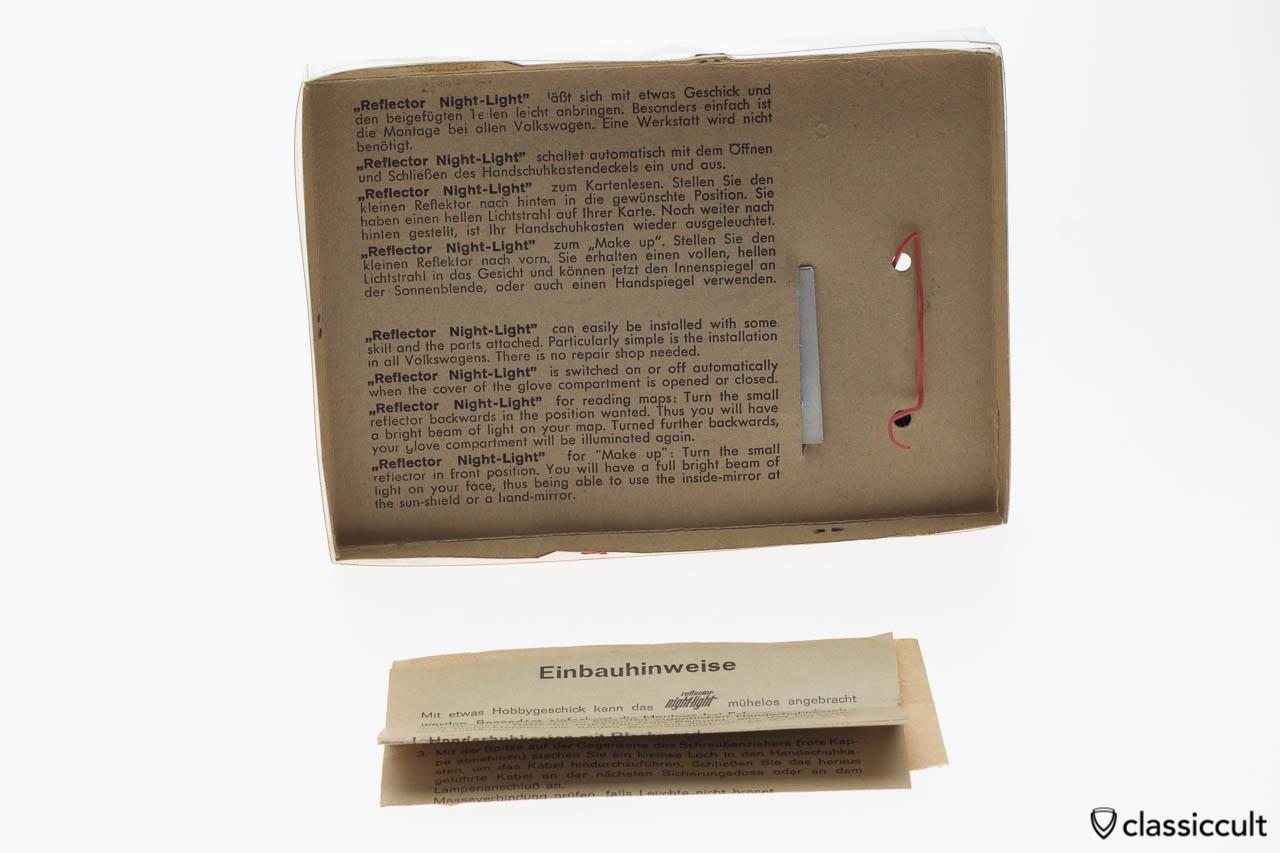 VW Beetle glove box light instructions