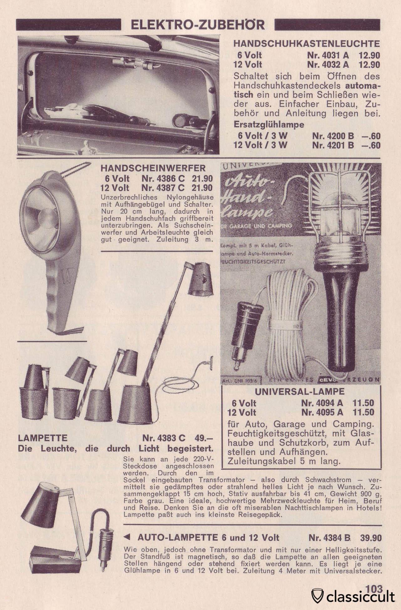 VW Bug glove box light (Handschuhfach- und Kartenleuchte) in german car accessory catalog Auto Ausstattung 1968-1969, Page 103