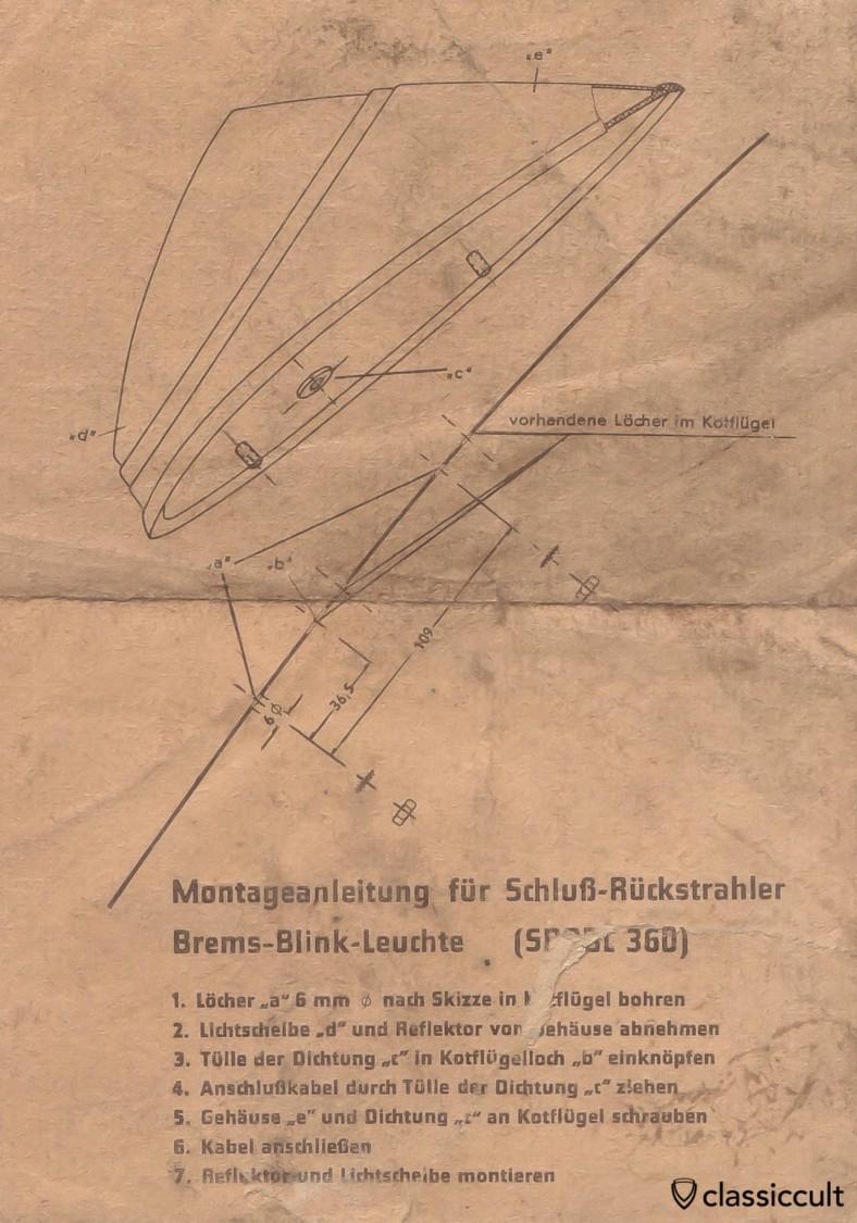 VW Bug Hella taillight mounting instruction 1961-1967