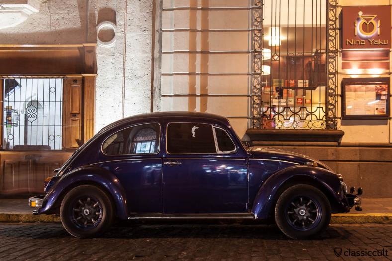 VW Bug before Nina-Yaku Restaurant, San Francisco 211, Arequipa, Peru, May 10, 2013
