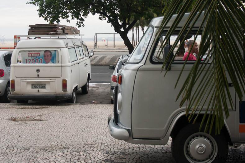VW Bus T2 c and VW Kombi, Copacabana Beach, Rio de Janeiro, Brazil, May 23, 2013