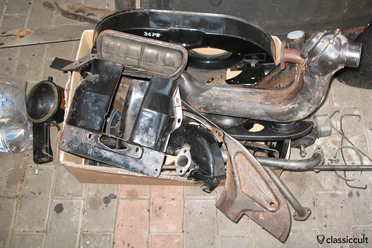 VW motor and chassis parts ready for sandblasting and painting