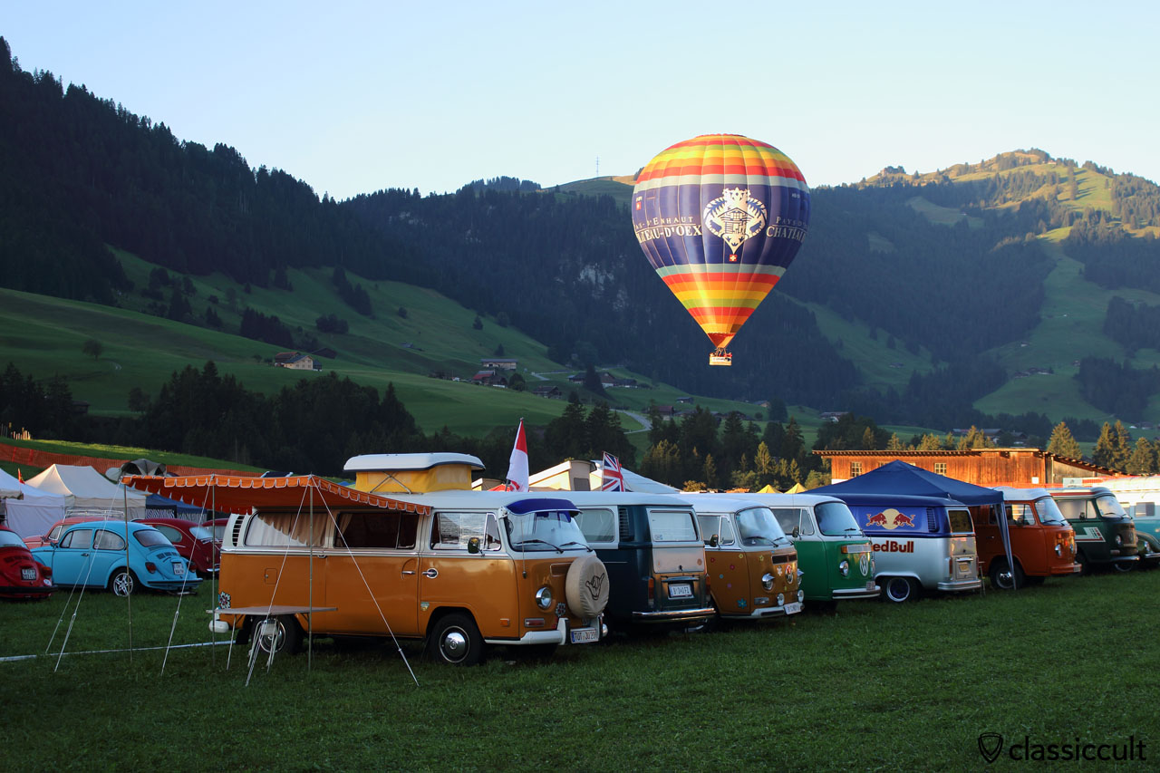 Camper Vans at Meeting int. VW de Château-d'Oex 2015 and hot air balloon