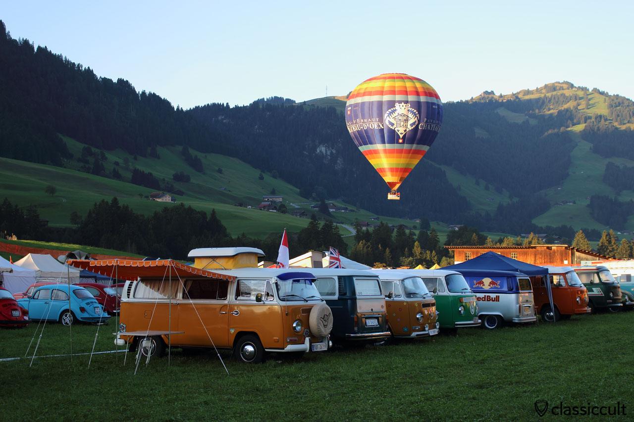 Camper Vans at Meeting int. VW de Château-d'Oex 2015 and hot air balloon