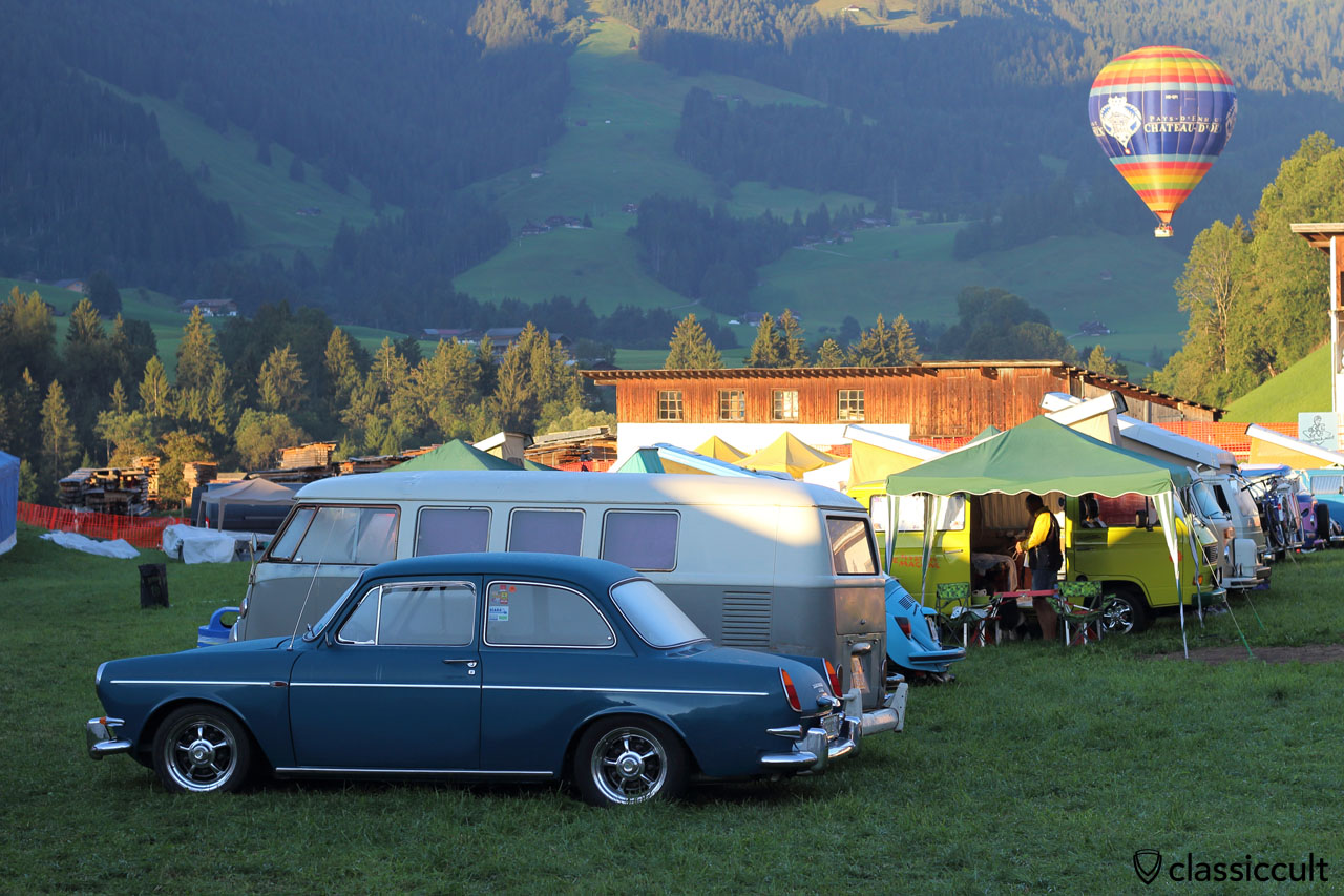 Type 3 notchback at Château-d'Oex VW meeting and hot air balloon