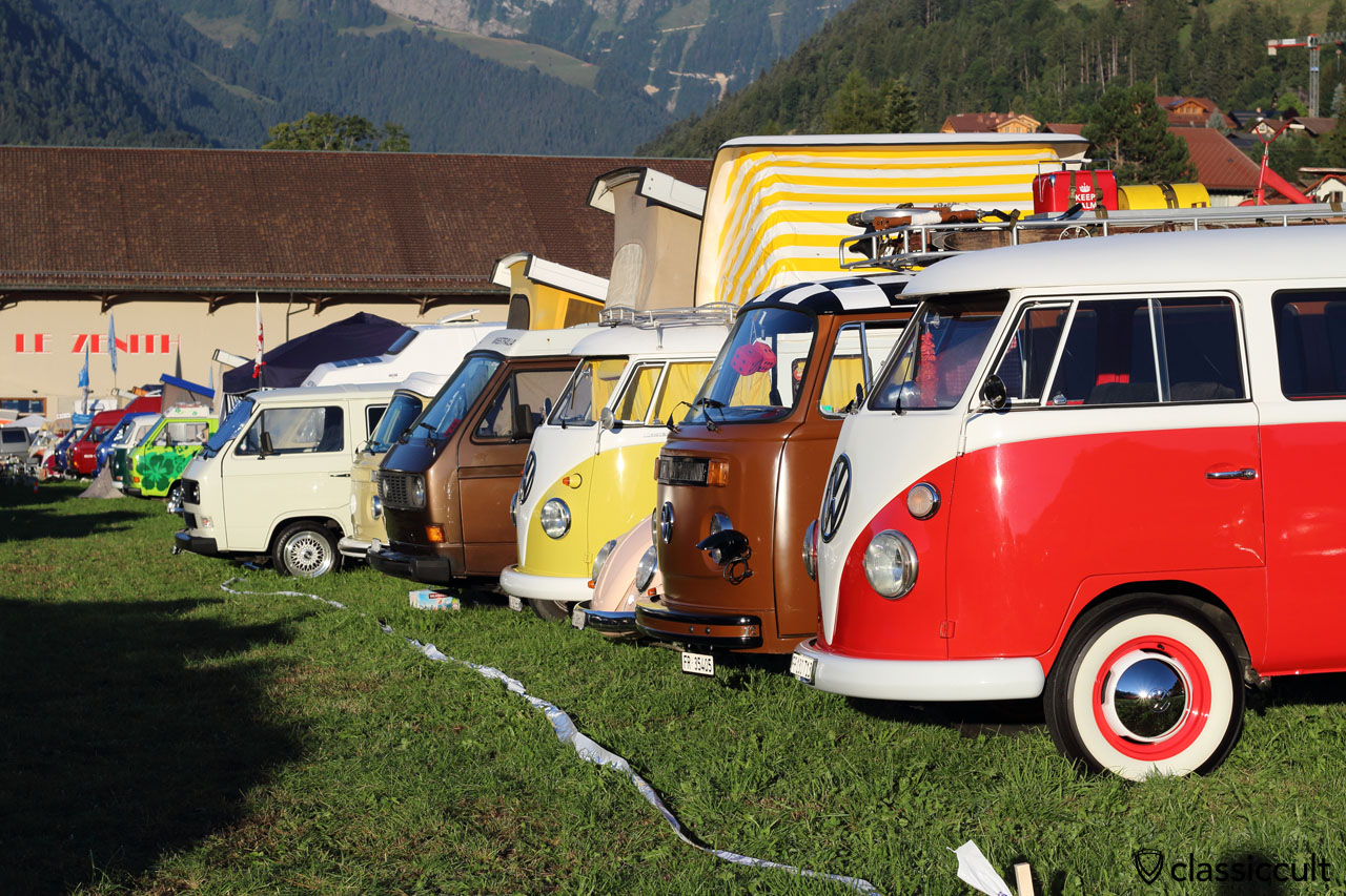 T1, T2, T3 Bus at Château-d'Oex VW Meeting 2015