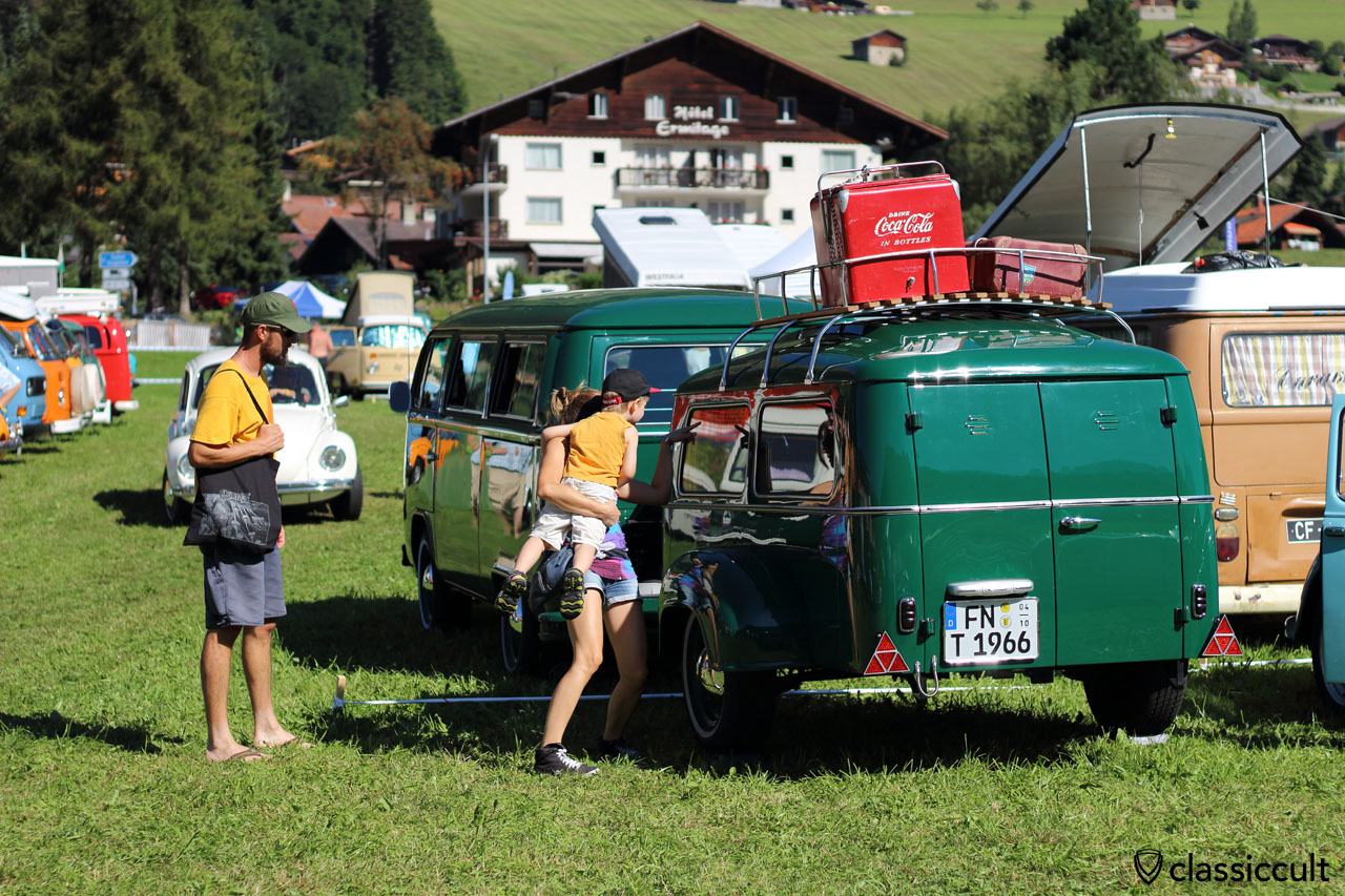 T2 Bus with trailer from Germany at Château-d'Oex VW meeting 2015