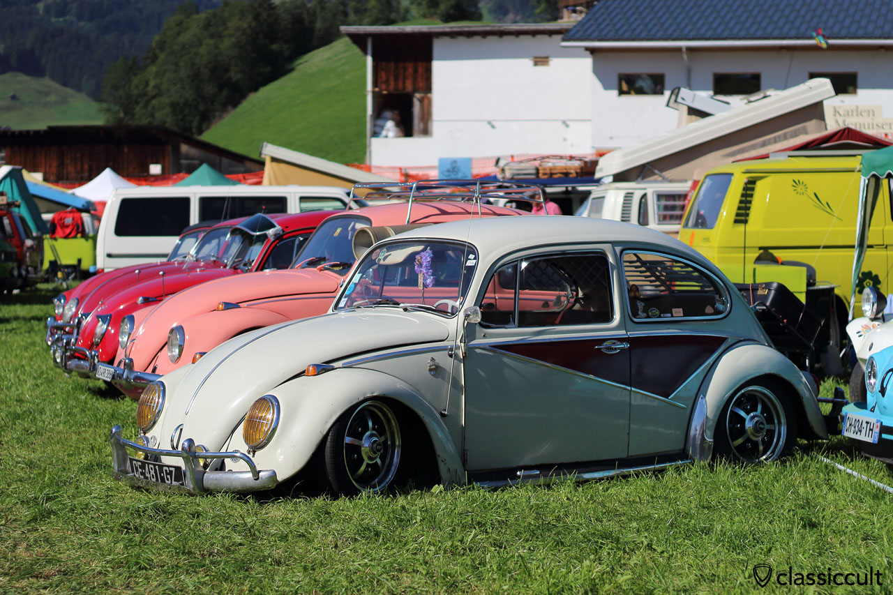 slammed VW Beetle with yellow headlight lenses