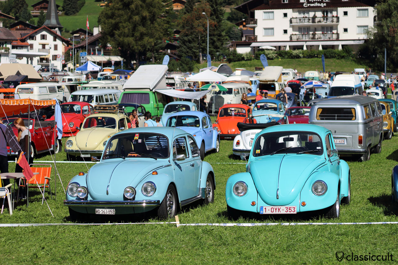 two blue VW Cox