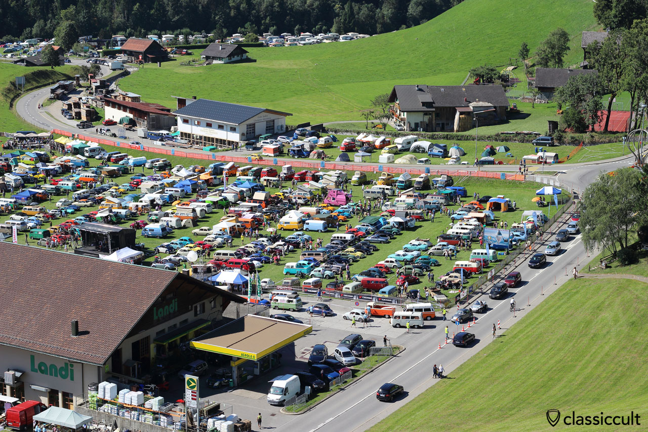 view of Château-d'Oex VW meeting 2015 from old church
